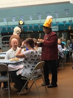 German meal on Lido deck for Oktoberfest-type deck party and meal.