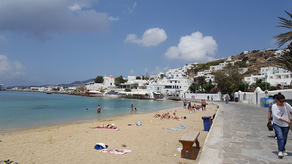 Mykonos Greece. Very expensive to shop there.
