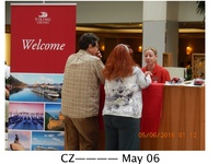 Suzy (our program director) at the Viking desk at the Prague Hilton explain