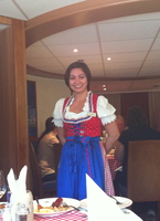 Our lovely server, Connie, on Austrian theme night. Always smiling and gracious