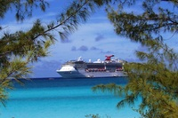 View of the Carnival Pride as we were walking to our beach wedding ceremony