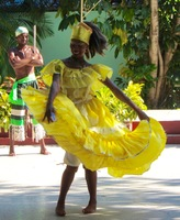 Cuban girl dancing at a cultural center in Santiago de Cuba.