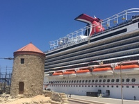 Carnival Vista docked in Rhodes, Greece