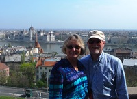 Nancy and Mark Rudd at the Fisherman's Bastion in Budapest with the ico