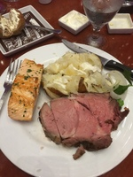 One of my many amazing beef and fish dinners. Prime Rib and Salmon yum yum