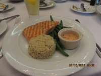 Grilled Salmon, Rice, Green Beans, Liberty Dining Room