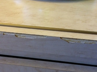 Edges of the dresser drawers. Cheapest Formica qualities used in 1980's