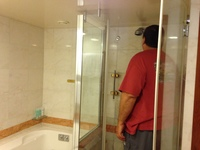So surprised to see a full size jetted tub and large shower.