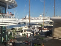 Docked right inside Monaco Marina with all the super yachts!