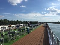 Sun Deck looking astern before entering the first lock so the sun shades ar