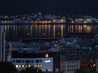 The Harbour of Alesund by night