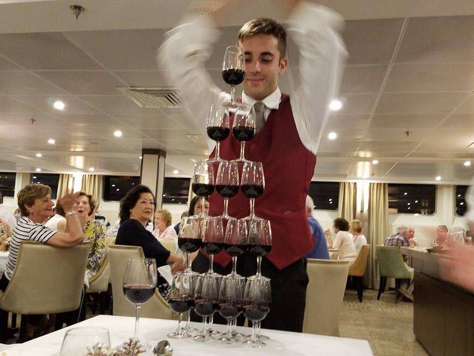 Our Wine Steward Ensuring An Ample Supply Of Post Dinner Port - Steward cruise ship