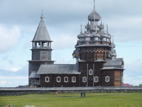 The wooden onion dome church on Kizhi Island
