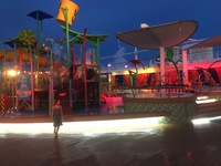 Kids water play area at night