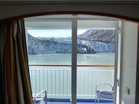 Cabin view of a glacier bay.