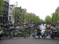 Walking the streets and canals of Amsterdam.  Bicycles everywhere!!!!