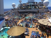 This is a photo of all of the chairs on deck.....with towels and stuff on t
