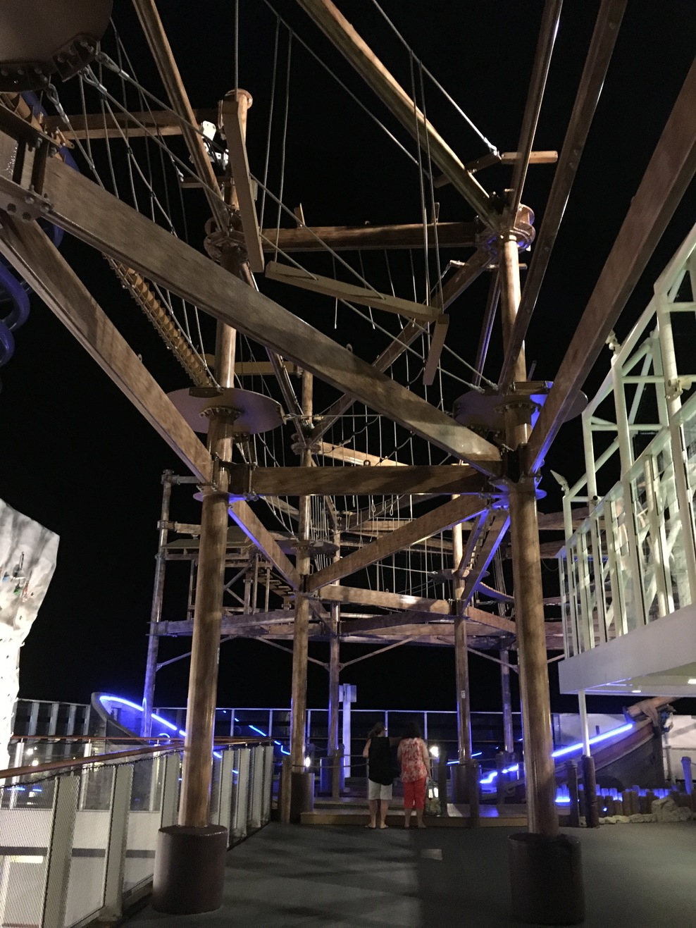 Part of the ropes course above deck 16. The upper half of the rock wall is