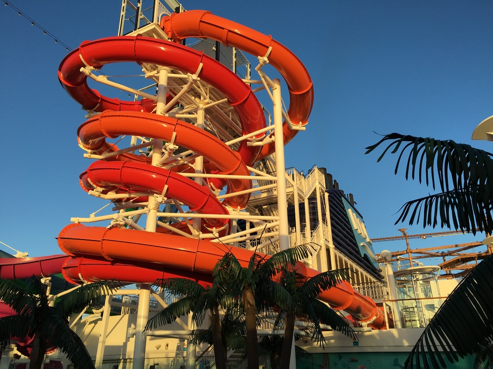 Another shot of the water slides in the light of the sunrise.