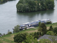 A photo of the MS Bizet on the Seine from Chateau Galliard