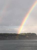 Rainbow out of our cabin halfway up to Vancouver.