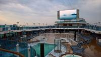 Top deck pool and movie screen.