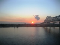 Sunrise as we approach the pier early on our arrival back in New Orleans