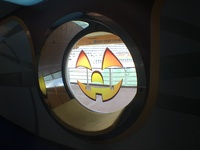 Halloween decorations in all public portholes throughout the ship.