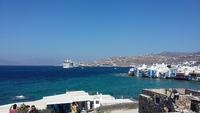 View of Vision of the Seas from Mykonos shore