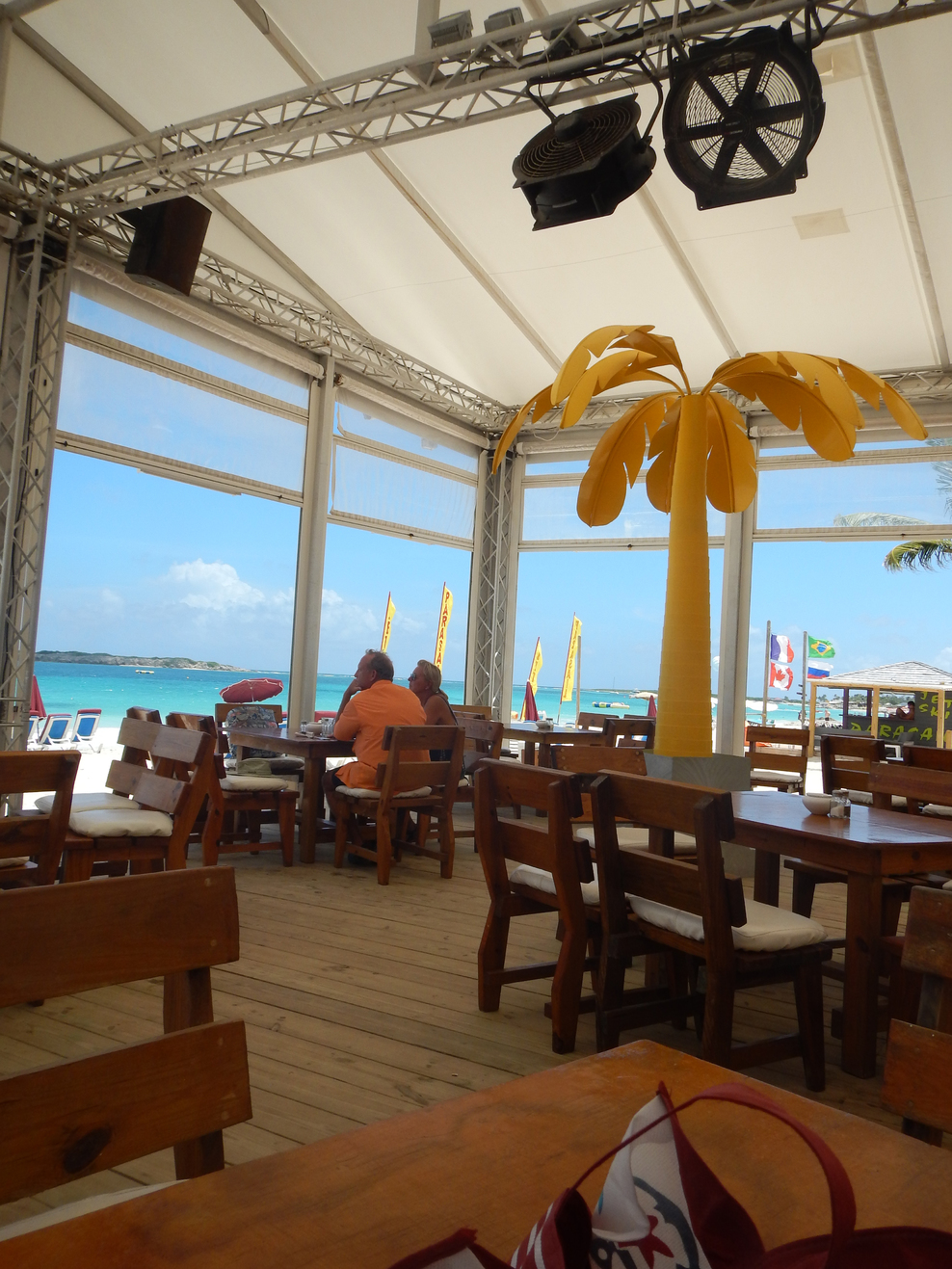 Beach front restaurant at Orient Beach, St Maarten - great food!