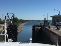 Lock emptied and gate opening on the St Lawrence Seaway