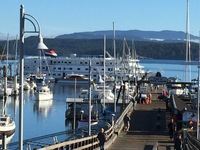 Ship at dock in Friday Harbor, San Juan Island.