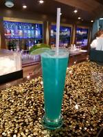 Enjoying a Blue Caribbean, drink of the day in the Viking Crown Lounge