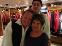 Fellow cruise-mate posing with the staff
