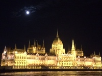 Breathtaking view of Budapest lit up at night as we cruised into port.