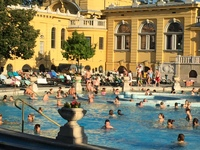 We basked in the late afternoon sun at the thermal public baths in Budapest. Don