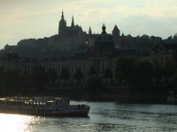 The Prague Intercontinental Hotel overlooked this gorgeous view of the castle and river. Wonderful location!