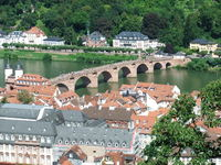The Old Bridge in Heidelberg crosses the Rhine River. Photo was taken from