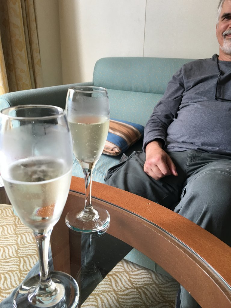 Champagne upon arrival.