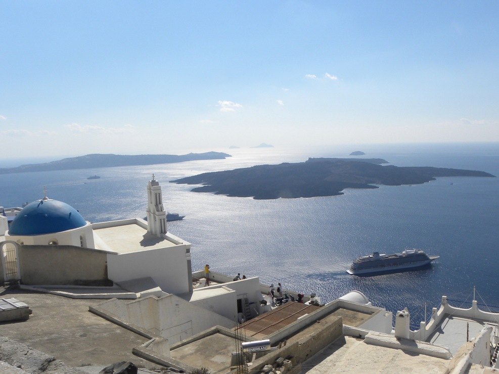 View of the Viking Sea while on a walking tour of Thira, Santorini.