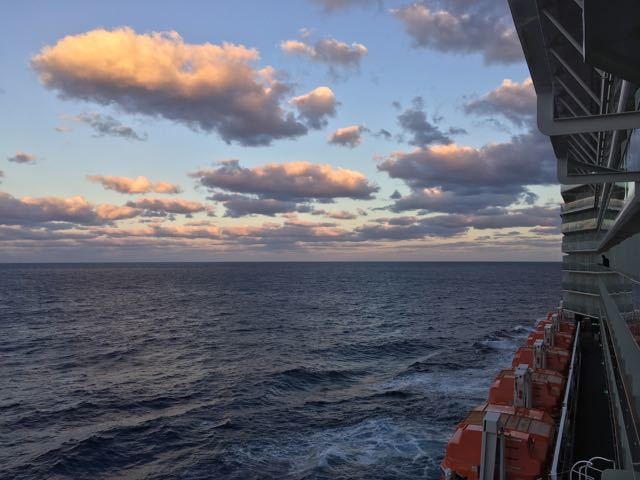 Sunset at sea from the Cabin.