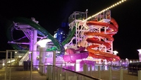 The water slides at night