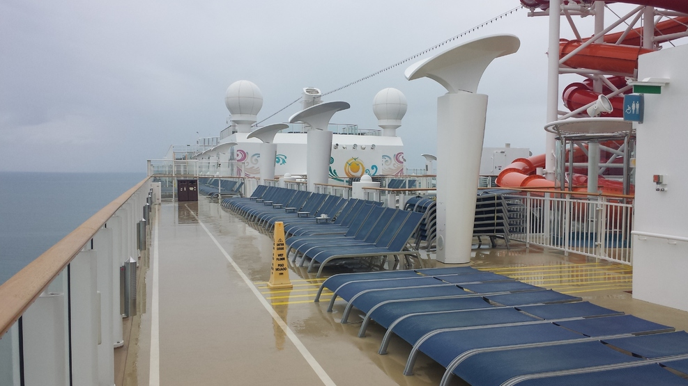 Top deck.  Plenty of seats available on rainy days!
