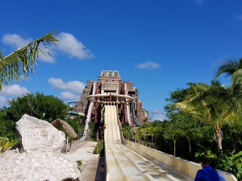 Lost Maya Kingdom Park. This image is of the 12 slide temple. Great fun and a heck of a workout trekking back up to the slides each time. Don