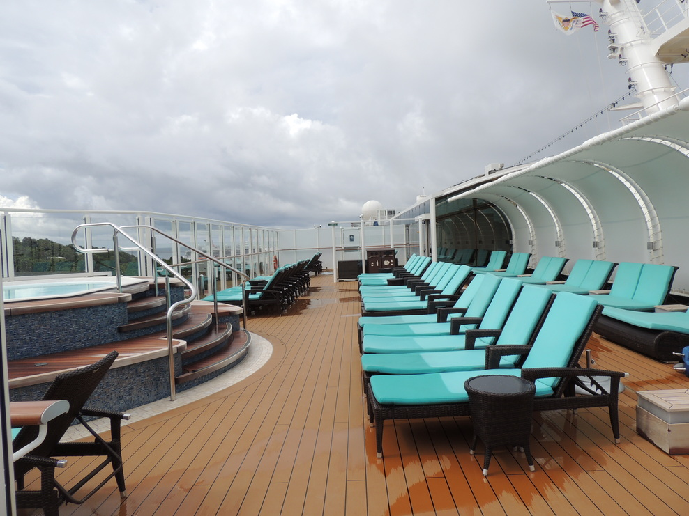 NCL Escape Haven top deck of the Haven, includes a hot tub.