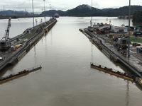 Exiting the first set of locks as we move through the Panama Canal.