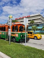Trolley stop in Miami Port