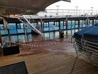 Closed pool deck.