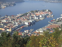 View of Bergen, Norway from mountain top