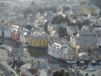 Mountain view close up of downtown, Alesund, Norway